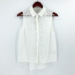 nwt | Ariat White Sleeveless Button Up Blouse
